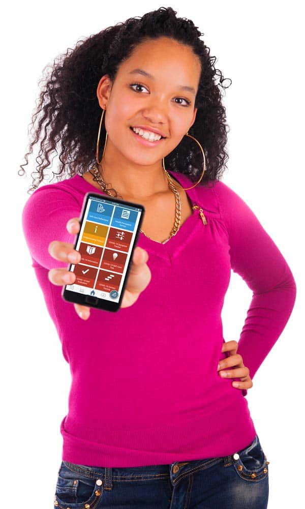 Photo of Black woman holding up health app on her mobile phone