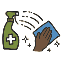 Cleaner and hand cleaning icon