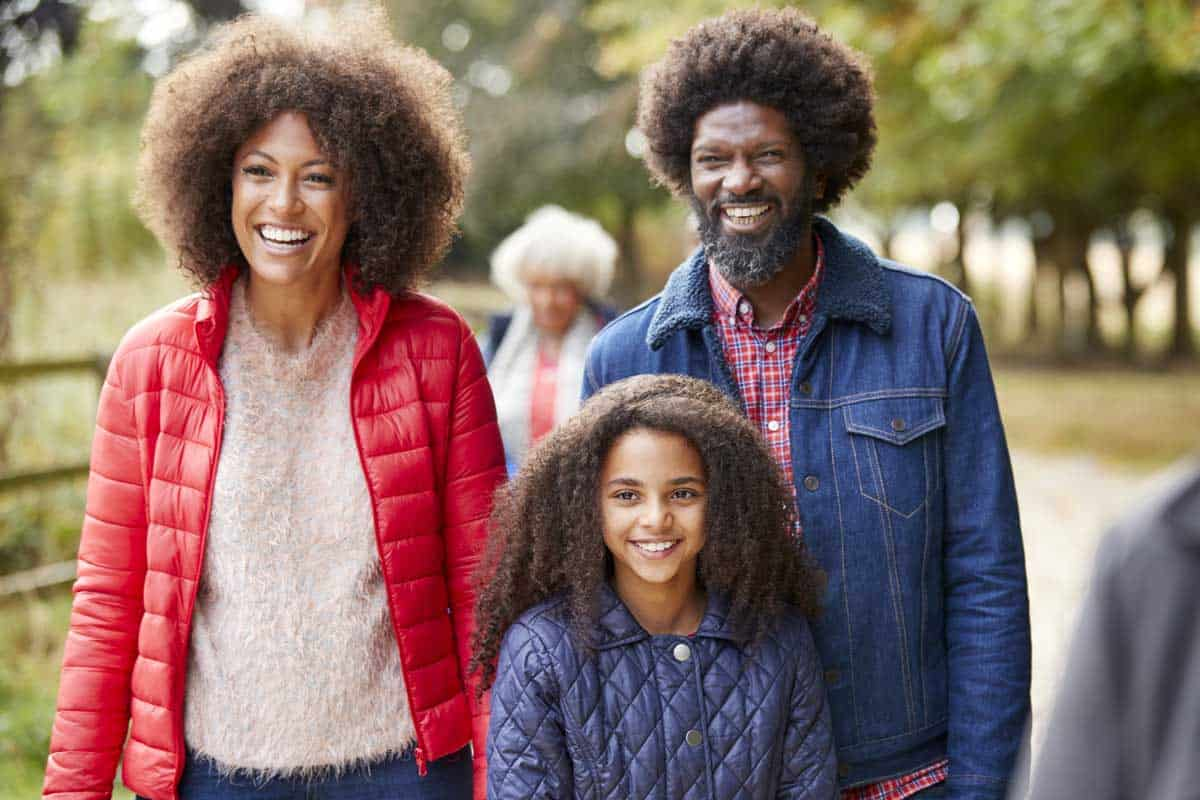 Modern Black family at the park during the fall.