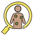 Graphic of a magnifying glass over a cartoon body with green dots of where their symptoms appear