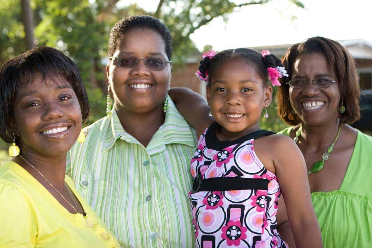 Black women posing for family photo