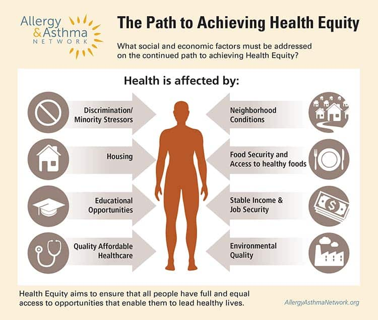 Infographic on Path to Achieving Health Equity. It speaks about the issues of: Housing, Education, Affordable healthcare, discrimination, neighborhoods, food insecurity, stable income and environmental quality.