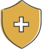 Cartoon image of a shield with a cross on it, signally safe