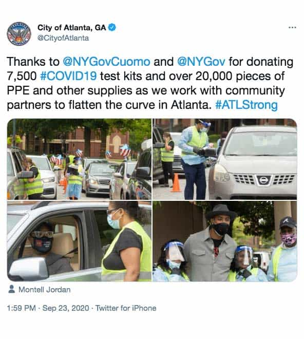 City of Atlanta Twitter post about free Covid-19 Screenings