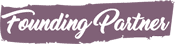 """Purple banner with white letters that say """"Founding Partner"""""""