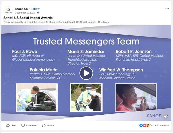 Sanofi Impact Award to Trusted Messenger screen shot from Facebook watch