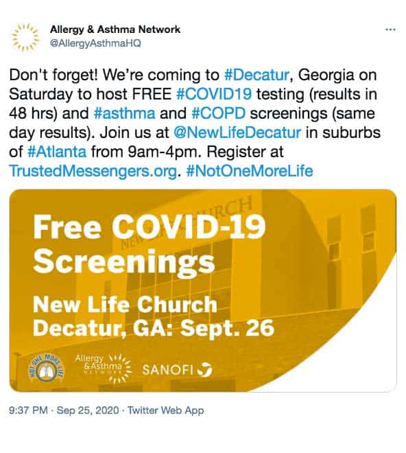 AAN Twitter post about Free Covid-19 screening