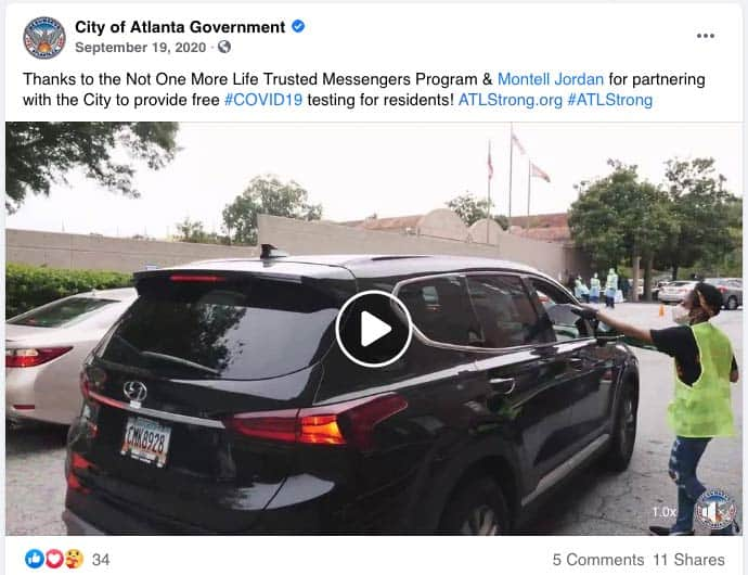 City of Atlanta FB post about Covid-19 Screenings