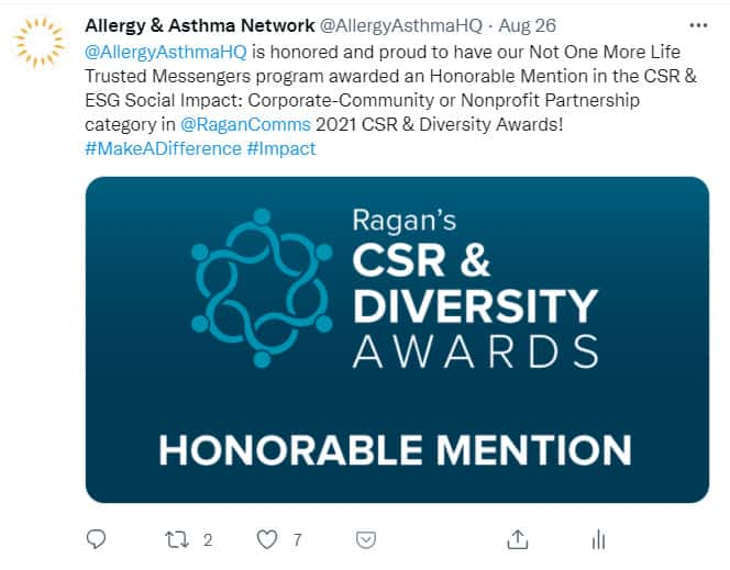 Image of social media post announcing Trusted Messengers award for CSR & Diversity